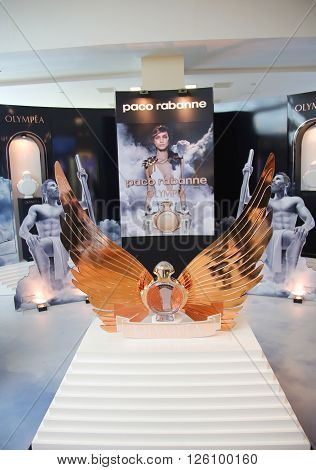 NEW YORK - JANUARY 21, 2016: Olympea fragrance by Paco Rabanne on display at duty free store at JFK airport in New York