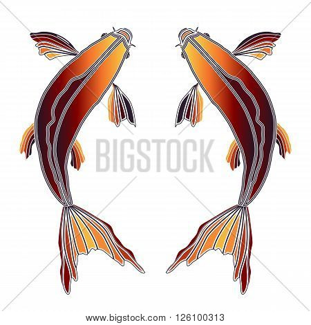 Bright colorful fishes zodiac Pisces sign for astrological predestination and horoscope