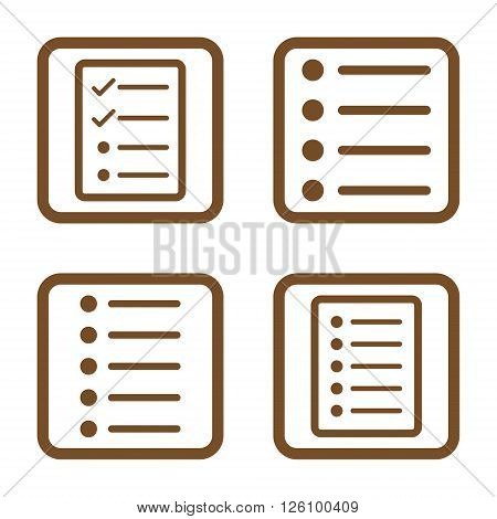 List Items vector icon. Image style is a flat icon symbol inside a square rounded frame, brown color, white background.