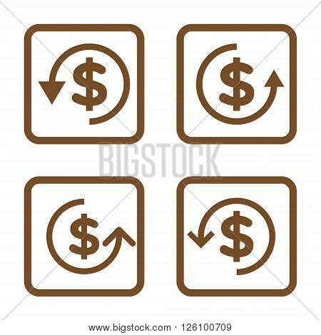 Refund vector icon. Image style is a flat icon symbol inside a square rounded frame, brown color, white background.