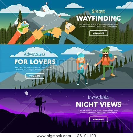 Banners of hiking, trekking and andventure. Vector illustration. Activity life. Outdoor leisure. Extreme tourism. Mountain peak.