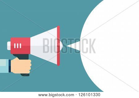 Male hand holding megaphone with blank bubble speech. Loudspeaker. Template for digital marketing, promotion and advertising. Flat design vector illustration.