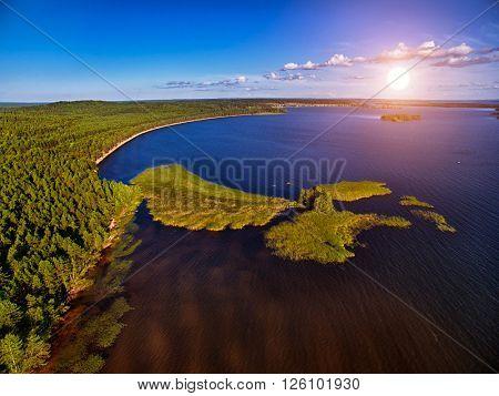 Karelia Landcape Sunset Aerial