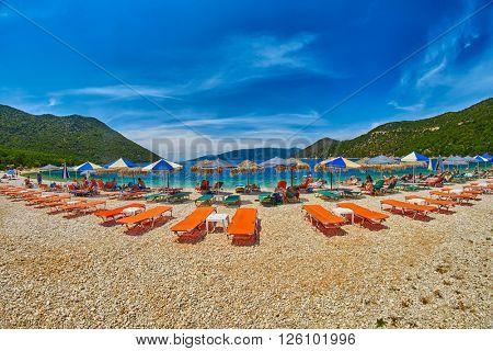 Beach Beds and Umbrellas in Antisamos Beach, Kefalonia Island, Greece