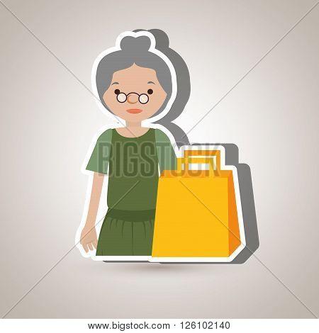 grandmother shopping design, vector illustration eps10 graphic