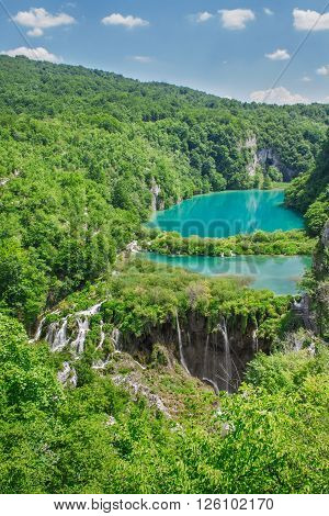 Beautiful view at Plitvice lakes National park, Croatie, Europe.