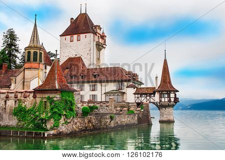 Beautiful view at Oberhofen castle in Switzerland, Europe.