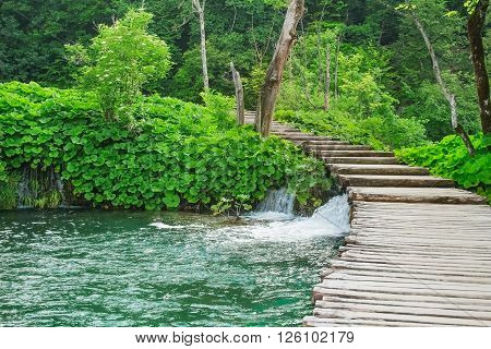 Wooden path in National park Plitvice lakes, Croatia, Europe.