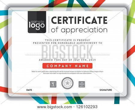 Modern certificate line background frame design template