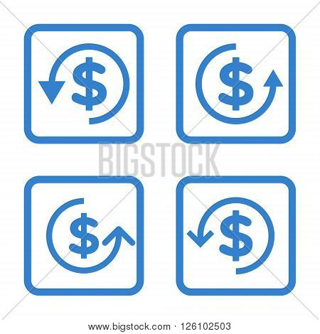 Refund vector icon. Image style is a flat icon symbol inside a square rounded frame, cobalt color, white background.