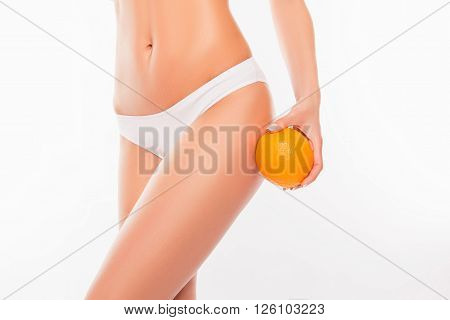 Close Up Portrait Of Sexy Woman Holding Orange Near Her Hip