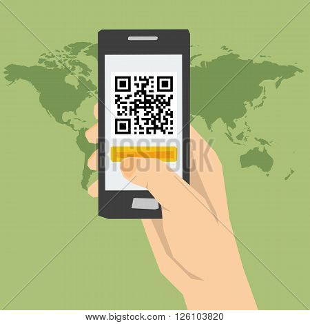 Vector concept using QR code identification. Easy and quick access to web sites information. Using a smartphone. Flat style. Web infographics