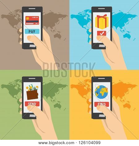 Four vector payment concept hand with phones. Easy payment find a tickets booking online shopping money sending. Using a smartphone. Flat style. Web infographics