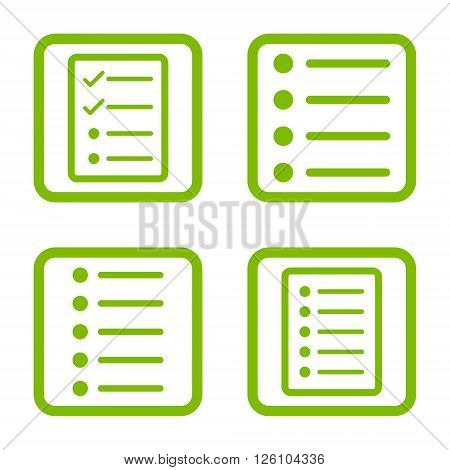 List Items vector icon. Image style is a flat icon symbol inside a square rounded frame, eco green color, white background.