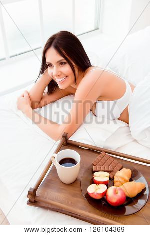 Good Morning! Cute Sexy Girl Wake Up With Wooden Tray With Tasty Breacfast