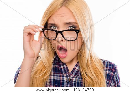 Close Up Portrait Of Surprised Woman In Glasses With Open Mouth