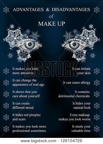 Advantages and disadvantages of makeup winter blue art snowflake makeup infographics