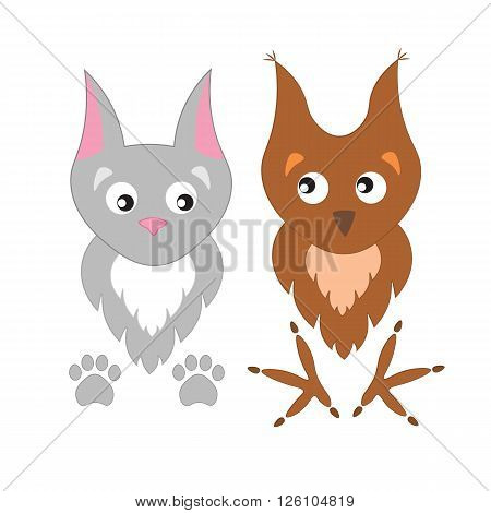 Cute cartoon owl and cat . Adorable owl and cat, paw prints and claws.