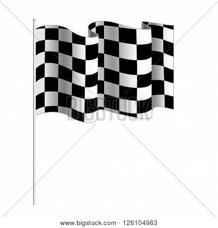 Checkered flag for car racing. Vector illustration isolated on white background. Finish flag. Race flag. finish illustration. Waving Checkered vector flag