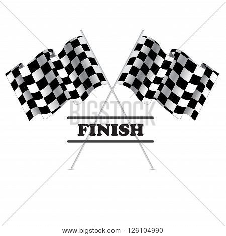 Checkered flag for racing. Isolated on white background. Two Finish flag with shadow. Race flag. finish illustration. Waving Checkered flag