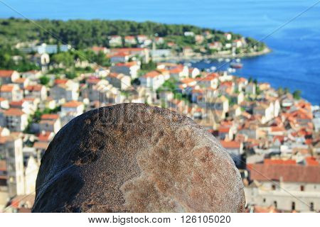 Metal cannon pointing the city of Hvar, Croatia.