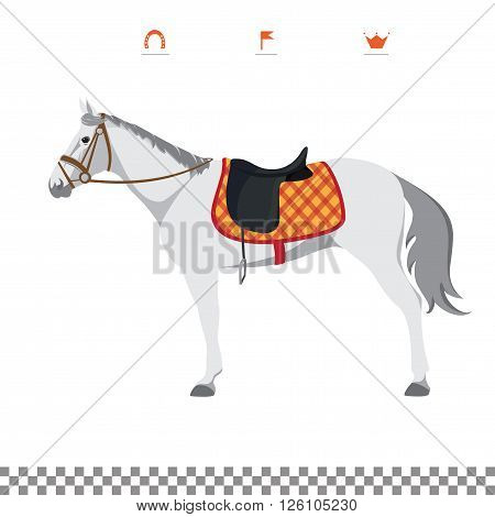 Derby. Equestrian sport. Illustration of horse. Vector. Thoroughbred horse. The Sport of Kings. Horse with Saddle