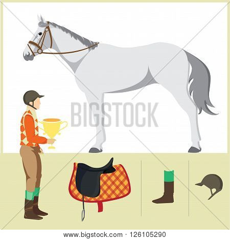 Derby. Equestrian sport. Vector Illustration of horse. Thoroughbred horse. The Sport of Kings. Horse with Horseman and Saddle