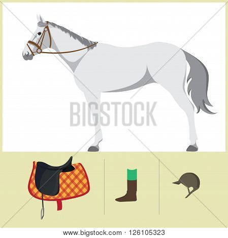 Derby. Equestrian sport. Vector Illustration of horse. Thoroughbred horse. The Sport of Kings. Horse with Saddle