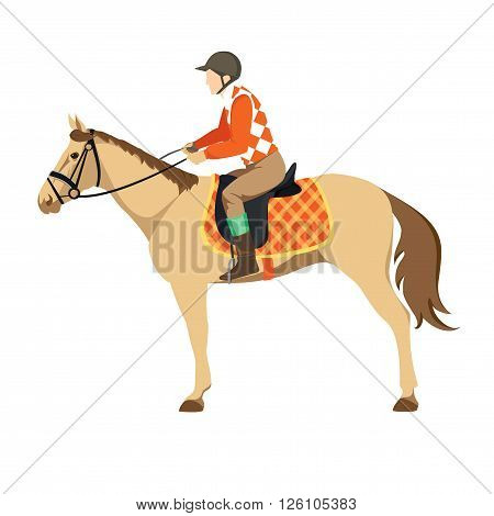 Equestrian sport. Illustration of horse. Vector. Thoroughbred horse. The Sport of Kings. Derby. Horse with Horseman