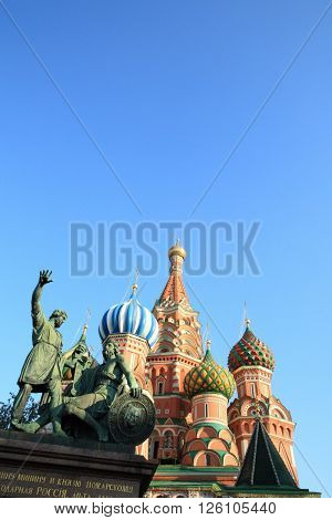 image of blessed basil cathedral and Statue of Minin and Pozharsky