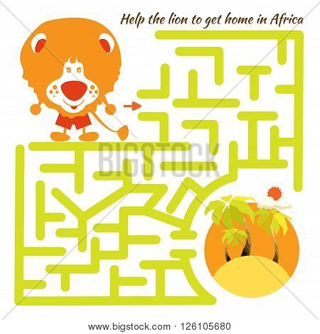 Funny labyrinth. Help the lion to get home in Africa and get out of the maze. Illustration with tangled lines. Funny cartoon character. Vector Rebus. Isolated on white background