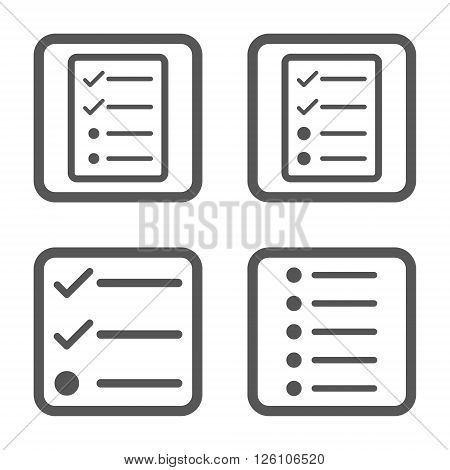List Items vector icon. Image style is a flat icon symbol inside a square rounded frame, gray color, white background.