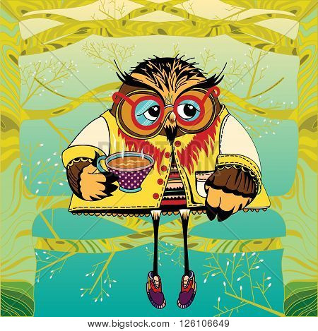 Owl on a tree drinking tea. Cute character Owl. Concept animal. Little animal in forest