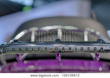 BRNO, CZECH REPUBLIC-MARCH 4,2016: Close up of inscription Harley Davidson on rear chrome frame of motorcycle Touring Road Glide Ultra on International Fair for Motorcycles on March 4,2016 in Brno in Czech Republic