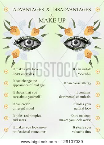 Advantages and disadvantages of makeup spring jonquil art flower makeup infographics