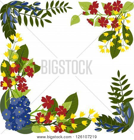 Multi colored florets with leaves. Spring or summer design for background  or invitation, wedding or greeting cards, isolated on white background, vector illustration