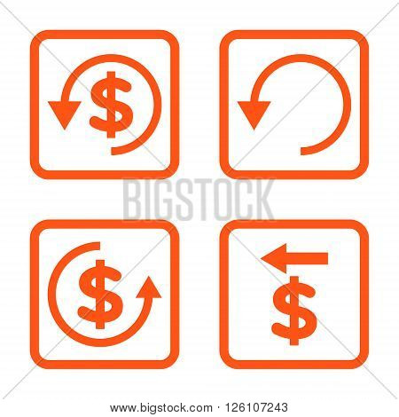 Chargeback vector icon. Image style is a flat icon symbol inside a square rounded frame, orange color, white background.