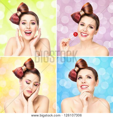 Beautiful smiling woman with a lollipop on bubble background. Portrait collection.