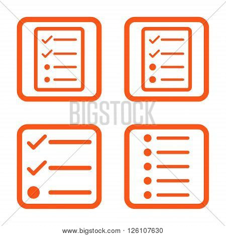 List Items vector icon. Image style is a flat icon symbol inside a square rounded frame, orange color, white background.