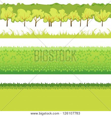 Green Grass with bushes different colors and shape-01