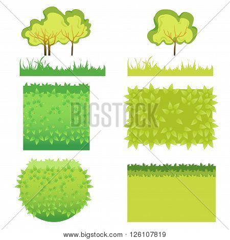 Green Grass with bushes different colors and shape