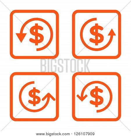 Refund vector icon. Image style is a flat icon symbol inside a square rounded frame, orange color, white background.