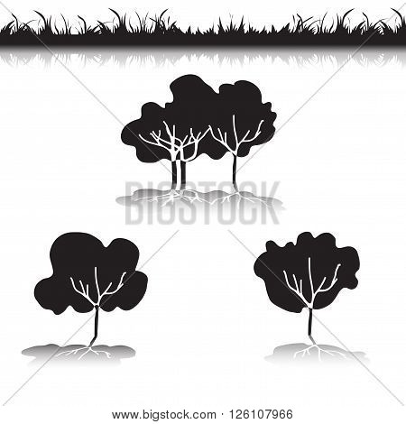 Green Grass with bushes. Isolated On White Background. Grass different shape. Vector Illustration. Concept design elements for garden. Spring Garden with shadow