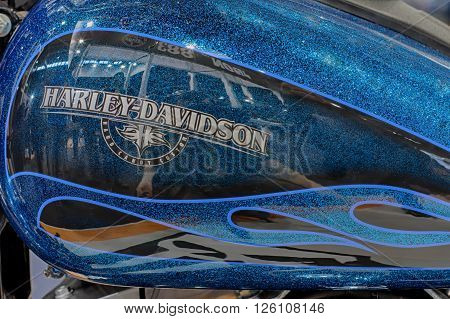 BRNO, CZECH REPUBLIC-MARCH 4,2016: Close up fuel tank of motorcycle Harley Davidson Street Bob on International Fair for Motorcycles on March 4,2016 in Brno in Czech Republic