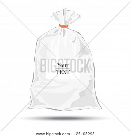 Transparent bag for package design. Plastic packaging. Vector. Blank white bag with place for your design. Sketch style. Isolated background with shadow