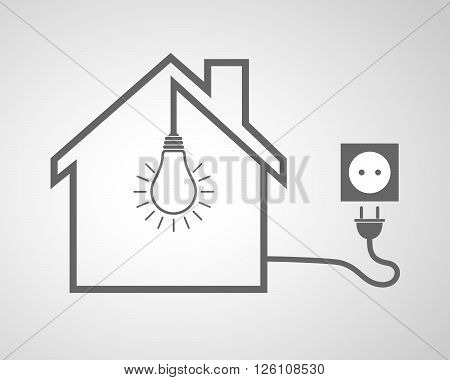 Black house with socket and light bulb - vector illustration. Simple icon with house silhouette light bulb and socket with plug.