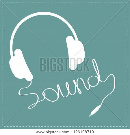 White headphones with red cord in shape of word sound. Music card. Vector illustration.