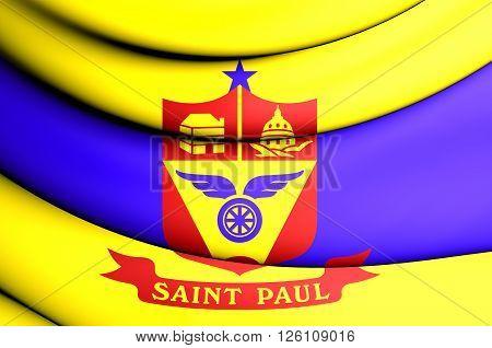 Flag Of Saint Paul, Minnesota, Usa.