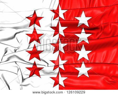 Flag Of Valais Canton, Switzerland.