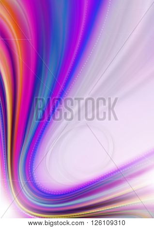 Rainbow curved rays, bands and beads on pink wavy background